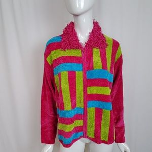 Vintage Lisa International Neon Chenille Cardigan